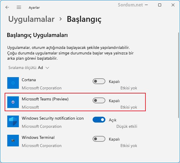 Microsoft teams açılışta başlamsın