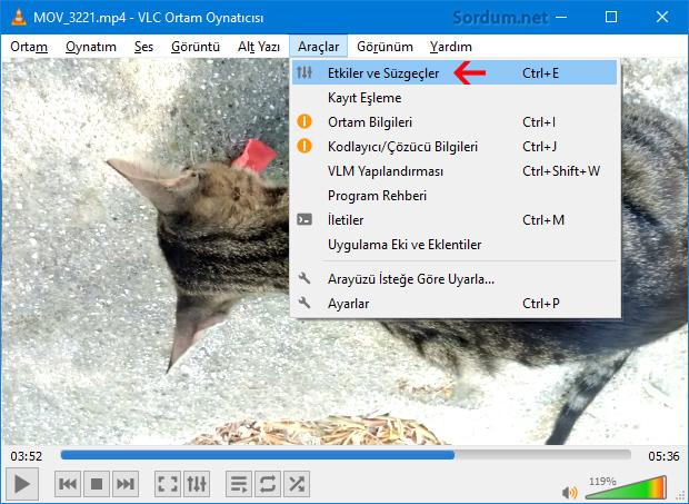 VLC de ters görüntüyü düzeltme