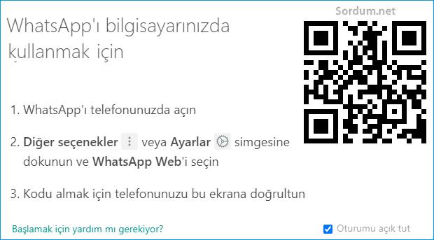 WhatsApp windows uygulaması QR kodu istiyor