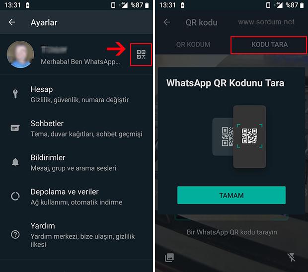 WhatsApp QR kodu tarandı