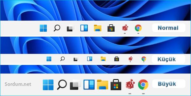 Windows 11 Görev çubuğu ikon boyutu