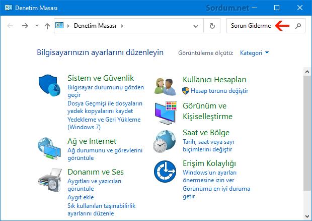 Windows 10 klasik denetim masası