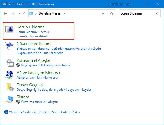 Windows 10 sorun giderme
